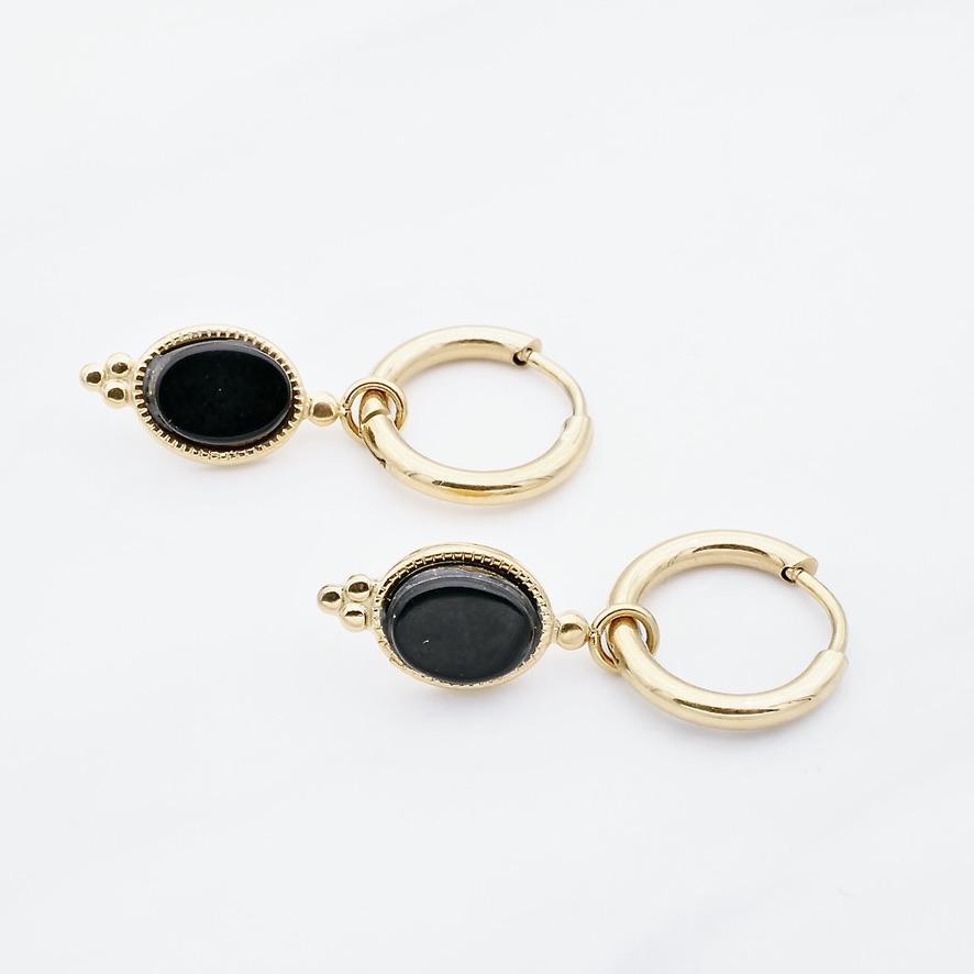 Leslie black Ohrring Gold