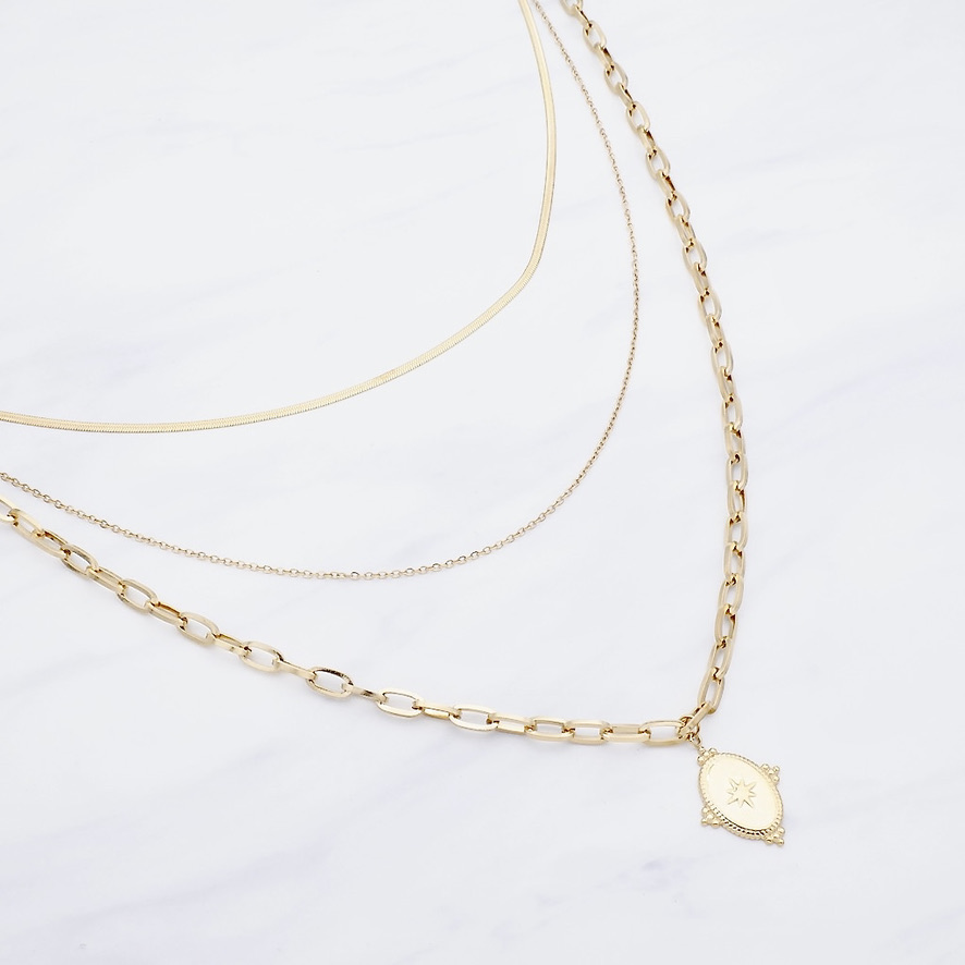 Amber Layer Kette Gold