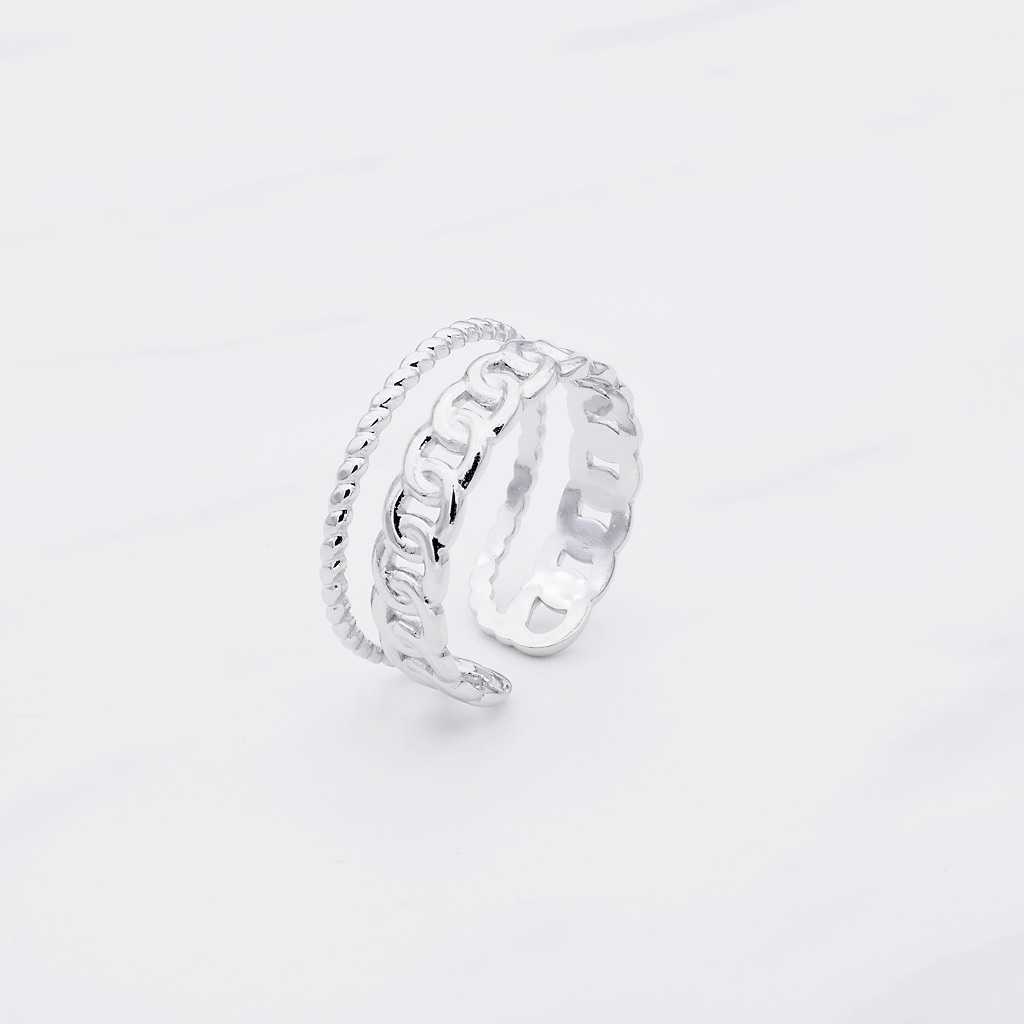 Double Ring Silber