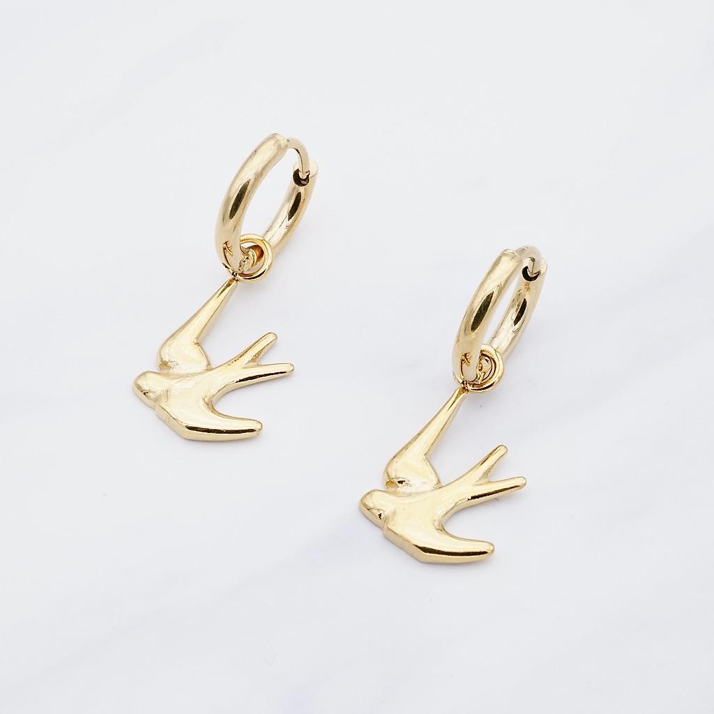 Schwalben Ohrring Gold