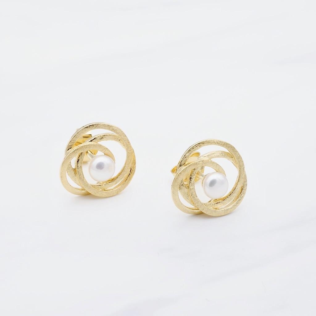 Perlen Ohrstecker Gold