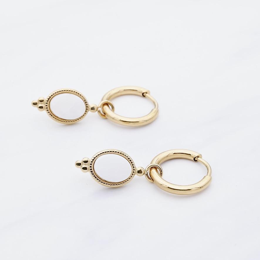 Leslie white Ohrring Gold